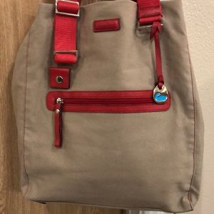 Dooney & Bourke red and tan tote